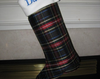 Plaid Silk Christmas stocking