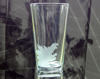 Small Godzilla Glass - Etched Pint Glass - Rampage - Destroy Your Glass - Kaiju Art - Gift For Him - Etched Barware - Iconic Monster