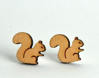 Wooden Squirrel Earrings - Handmade laser cut silver plated stud earrings