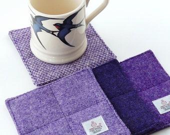 Purple Harris Tweed Coasters, quilted coasters - lilac - lavender