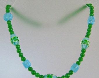 FALL SALE Vintage Art Glass Necklace Green and Aqua Blue Glass Beads