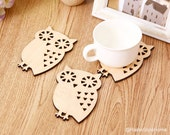 4 pieces Set. Little Beige Owl Wood Coasters Set. Cute Forest Animals Coasters. New Home Gift
