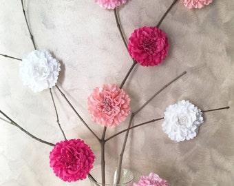 8 Pieces Set. Romantic White Pink Fuchsia Coral Large Peony Artificial Flowers Decor. Bridal Shower Floral Decoration. Rustic Wedding Decor