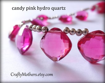 TAKE10 for 10% off! Candy PINK Quartz Faceted Cushion Briolettes, (1) Matched Pair, 12mm, hydro quartz, earrings