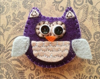Purple owl pin, owl brooch, purple accessories, owl collectible