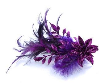 Purple Feather Hair Clip