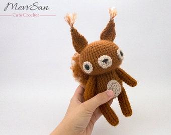 MADE to ORDER - Amigurumi Woodland Critter Squirrel - crochet animal plush, amigurumi squirrel toy, cute crochet squirrel plush