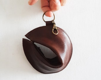 1+1 Leather wallet , purse ,Fortune cookie  ,The Perfect Gift -Brown