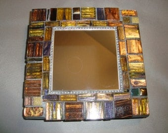 MOSAIC MIRROR - Gold, Silver, Brown, Bronze, Tan