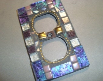 MOSAIC Electrical Outlet Cover,  Plug, Wall Plate, Purple, Turquoise, Silver, Gold