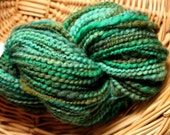 Hand-dyed Hand Spun Merino and Silk Yarn, Forest Greens Colorway