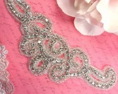 "XR224 Crystal Rhinestone Designer Silver Beaded Applique 6.25"" (XR224-slcr)"