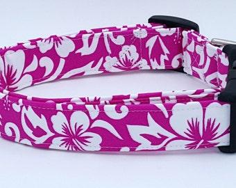 Bright Hot Fuchsia Pink Hawaiian Hibiscus Flower Dog Collar