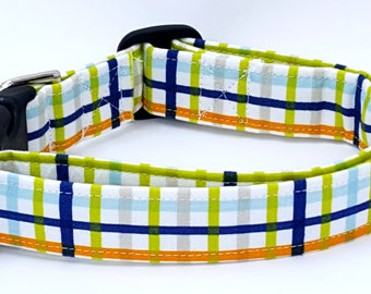 The Preppy Pup Plaid with Green Grey Blue Orange and White Dog Collar