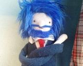 Fabric Plush Boy Doll with Blue Beard and Hair