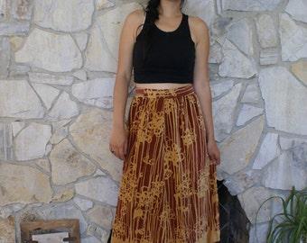 High waisted skirt velvet Print