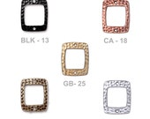 TierraCast Hammertone Drilled Rectangle Link - choose from black, antique copper, bright gold, brass oxide or bright rhodium