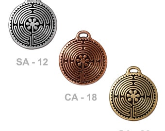 TierraCast 26mm Labyrinth Pendant - pewter with antique finish - choose from silver, copper, gold - chartres labyrinth spiritual meditation