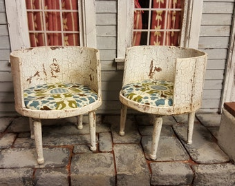 Doll House Miniature - White Antiqued and Aged Chair Set