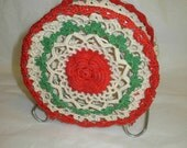 Vintage Napkin or Mail Holder, Doily, Doilies, Red, Green, and White, on Aluminum Stand