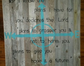 Turquoise Rustic Compass Scripture Sign Jeremiah 29.11