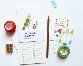 Perpetual Calendar for remember the birthdays dates - birds and botanical illustration - size 3, 89 x 8, 27 inches, (9, 9 x 21 cm)