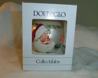 Doubl Glo Collectible Christmas Ornament Santa Merry Christmas to All, Original Box