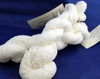 30% off STORE CLOSING SALE Upcycled Cream Cotton Yarn, Fingering Weight Yarn - 525 Yards