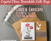 """A7+ - 100 Crystal Clear Cello Bags, A7 Card & Envelope Size, 5 7/16"""" x 7 1/4"""", Resealable Clear Plastic Sleeves, for Greeting Cards"""