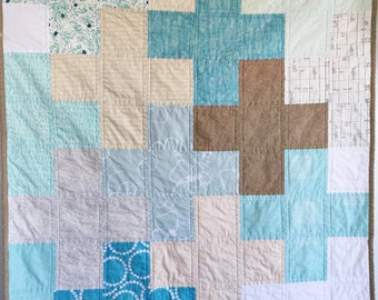 Modern Baby Quilt- Seashore; Baby Quilt, Toddler Quilt, Kid Quilt, Aqua Quilt, Plus Quilt