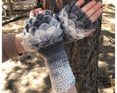 Ombre Color Gloves PATTERN - Fingerless Gloves - Dragon Scales - Dragon Fingerless Mittens - Crochet Pattern - Adult Gloves Pattern