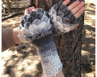 Ombre Color Gloves PATTERN - Fingerless Gloves - Dragon Scales - Dragon Fingerless Mittens - Crochet Pattern - Adult Gloves Pattern