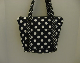 Quilted Zipper Purse, Shoulder Purse, Black and White Dots, Ready to Ship