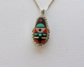 Zuni Inlaid Silver Pendant Virginia Quam