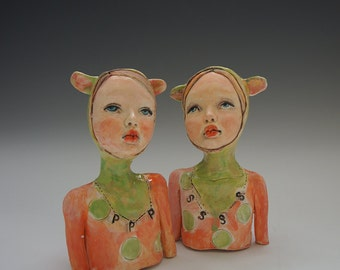 Peachy salt and pepper set by artist Victoria Rose Martin