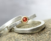 Set of Three Sterling Silver 22K Yellow Gold Orange Padparadscha Sapphire Stacking Rings Genuine Gemstone Simple Textured Flat Bands