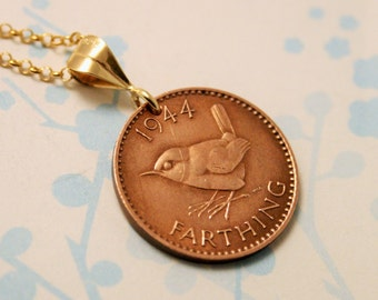 Coin necklace. Farthing necklace. Gold coin necklace.. Birth year necklace. Wren necklace. More dates available