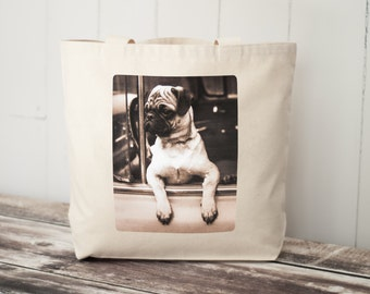 Joyriding Pug - Vintage Photograph - Carryall Tote - School Bag - Canvas Bag - Road Trip