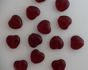 Hearts Czech Glass Vintage Beads Transparent Translucent DARK Siam Ruby Red 8mm Charms Earrings Bracelets Jewelry Valentines Day 25