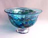Hand Blown Art Glass Fruit ,Candy Bowl on Foot, Blue Multicolored Pattern.