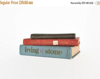 ON SALE Vintage Book Collection Decor Aqua Blue Olive Green Coral