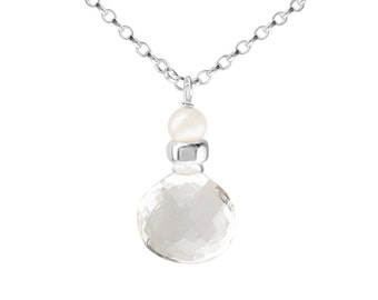 Perfume Bottle crystal quartz and white pearl necklace