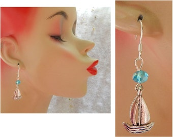 Silver Sail Boat Charm Drop/Dangle Earrings Handmade Jewelry Hook Beads Blue Nautical Jewelry