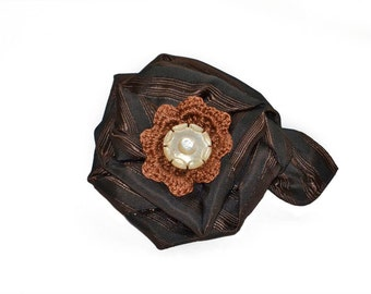 Scarf Pin, lapel pin, hat pin, fabric flower pin, brown copper flower brooch, fiber art corsage, OOAK