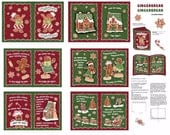 Christmas Gingerbread Soft Story Book Springs Creative Cotton Fabric Panel