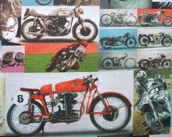 Racer Rex Motocross Motorcycle Photograph Block Alexander Henry Fabric
