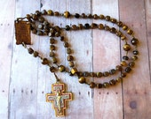 Brown Franciscan Crown Rosary of Tiger Eye Nuggets, Canticle of the Creatures Center and Full Color San Damiano Cross, Large Brown Rosary