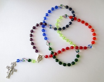 Rainbow Colored Franciscan Crown Rosary with San Damiano Cross and Saint Francis/ Saint Clare Center