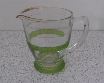 vintage frosted glass water jug