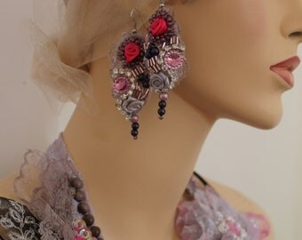 Unique Art to wear Pastel  baroque inspired textile earrings, lightweight earrings, gypsy , Marie Antoinette , flower earrings, dance